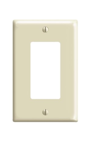 Leviton 80601-I 1-Gang Decora/GFCI Device Wallplate, Midway Size, Thermoset, Device Mount, Ivory
