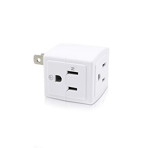 SYCON Adapter Outlet Extender Wall Tap Adapter Surge Protector Power Strip with 3 Outlets - 1 Pack