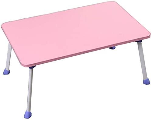 HLY Mesa perezosa, mesita simple de escritorio para computadora portátil, dormitorio, mesa plegable, cama, escritorio, duradero,Rosa