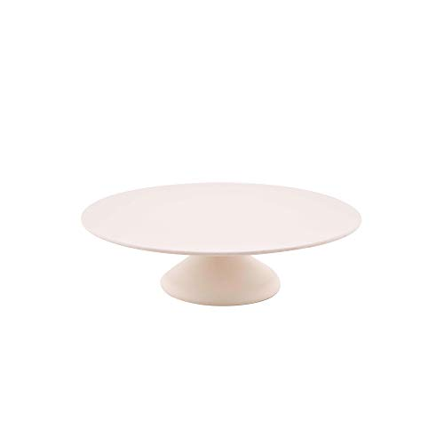 Présentoir à gâteau sur Pied, Assiette en Fibre de Bambou pour Les Desserts ou tartes en Couleur Blanc, ɸ 30 Cm