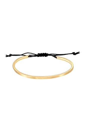 Elli Armband Damen Armreif Geo Basic Matt schlicht mit Nylon in 925 Sterling Silber vergoldet