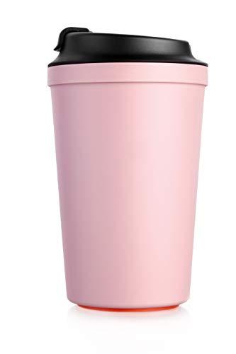 ArtiArt Pink Coffee to Go Becher, mit Magic Grip Pad, Kippt Nicht um, Umweltfreundlich 340 ml.