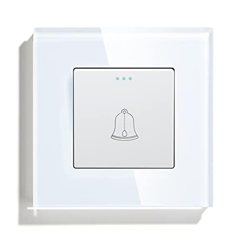 BSEED Interruptor de botón pulsador de timbre Interruptor de pared de panel de vidrio de cristal 10A 250V Timbre Blanco