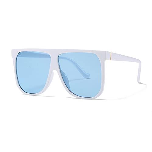 RuaRua Gafas Luz Azul,Monturas De Gafas con Luz Anti-Azul, Gafas De Sol Cuadradas De Gran Tamaño, Gafas De Sol con Parte Superior Plana Retro Uv400, Blanco Azul, Talla Única