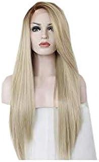 المرأة شعر مستعار طويل مستقيم شعر مستعار الدنتلة الجبهة باروكة شعر مستعار غير مرئية الجزء الأشقر لون