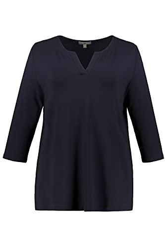 Ulla Popken Damen große Größen Shirt, Tunika-Ausschnitt, Classic, 3/4-Arm, Selection mitternachtsblau 42+ 720438 70-42+
