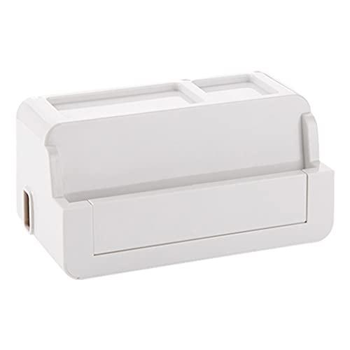 電源ストリップ収納ボックスオーガナイザーケーブル電線ケースアクセサリー用品安全ソケットコンセントボードコンテナ (ホワイト)