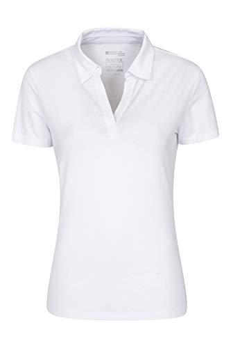 Mountain Warehouse Polo anti-UV pour femme - T-shirt anti-UV - Haut à col V - Tee-shirt léger - Idéal pour l'été, la course, la randonnée et le plein air Blanc 50