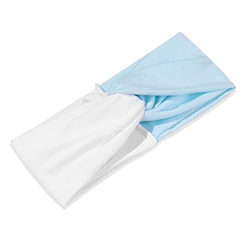 PPLAX Yoga Stirnband Breites Haarband Winterohrwärmer Kontrastfarbe Yoga Stirnband Weiche Stretch Headcar-Haarschmuck (Color : White Blue)