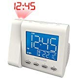 Magnasonic Projection Alarm Clock with AM/FM Radio, Battery Backup, Auto Time Set, Dual Alarm, Nap/Sleep Timer, Indoor Temperature/Date Display with Dimming & 3.5mm Audio Input - White (EAAC601W)