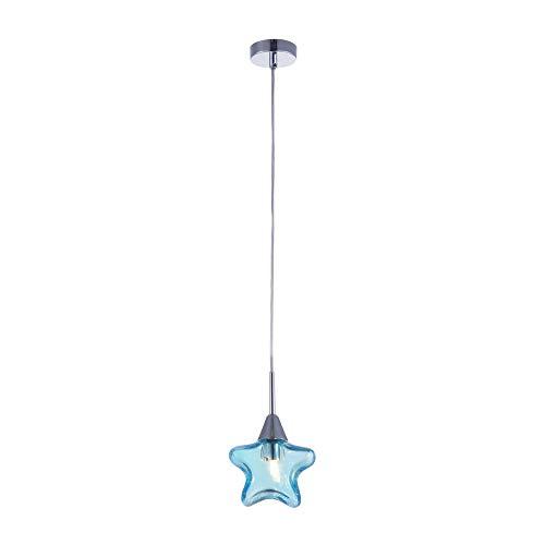 Suspension pour les enfants, 1 Lampe, Style moderne, Armature en Métal couleur chrome, abat-jour de verre bleu en forme d`etoile, 1 ampoule, excl. 1 G9 28W 220-240V