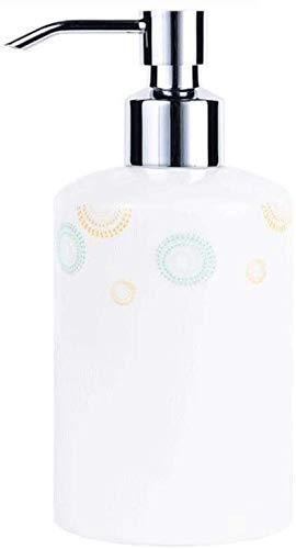 HLZY Dispensadores de jabón de encimera de baño, Dispensador de jabón Dispensador de emulsión cerámica y Juego de 4 Piezas de Accesorios de baño Dispensador de líquidos Botella de jabón