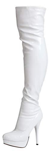 Nueva Sexy Rizado Fetiche Señoras Negro Blanco Rosa Rojo Muslo Encima de la Rodilla Altas Botas de Plataforma de Tacón (37 EU, Piel Sintética Blanco)
