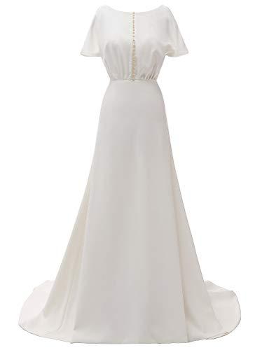 Fanwei - Vestido largo de boda para mujer, de raso, con agujero de la cerradura, simple fotografía de noche, cócteles, banquetes