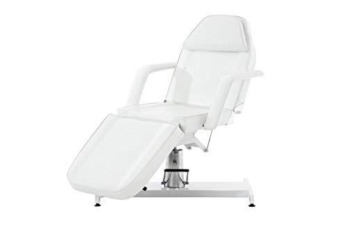 CLP Hydraulische Kosmetikliege V2 mit pflegeleichtem Kunstlederbezug I stufenlos verstellbare Massageliege I abnehmbare Armlehnen und Kopfteil, Farbe:weiß