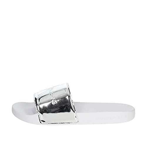 Calvin Klein Damen Schuhe Slide Specchio Pu Silber Badeschuhe Größe 38 EU