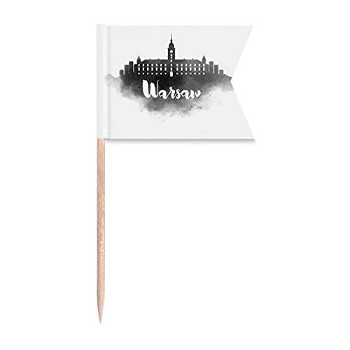 Warschau Polen Wahrzeichen Tinte Stadt Zahnstocher Flaggen Markierung für Party Kuchen Lebensmittel Käseplatte