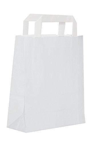 Dila GmbH 50 Papiertragetaschen in Weiß | Papiertaschen Henkeltaschen Tragetaschen Tüten Papiertüten recycelbar (18 x 08 x 22 cm)