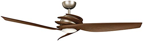 """Kichler 300700AP Spyra 62"""" Ceiling Fan with LED Light and Wall Control, Antique Pewter"""