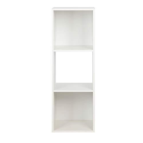 PACHIRA E-Commerce Wooden Storage Cubes, Unit Shelf Bookcase, Closet Cabinet, DVD Rack Bookshelf File Organizer Rack, Each Cube 28.5 cm, 3 Tier, White
