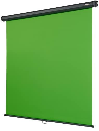 celexon Rollo Chroma Key Green-Screen zur Deckenmontage 200 x 190 cm - professionelle Studiokulisse/Hintergrund für Video-Übertragung, Webcam-Meeting
