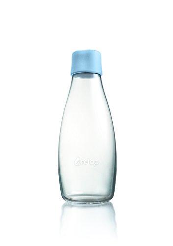 Retap ApS Grande Bouteille d'eau en Verre Borosilicate 0,8 Litre, Bleu bébé, 0.5 / Medium
