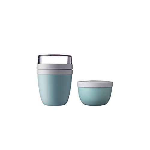 Mepal - set Lunchpot Ellipse Nordic green + Snackpot Ellipse - praktischer Müslibecher und Behälter für Transport von Lebensmittel - Geeignet für Tiefkühler, Mikrowelle und Spülmaschine