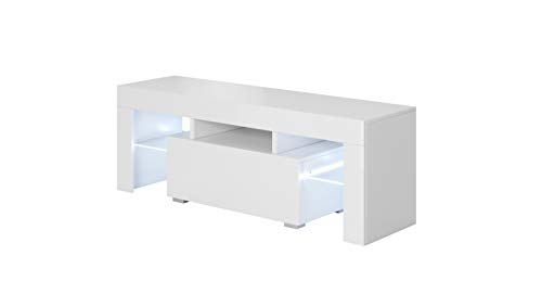 muebles bonitos – Mueble TV Modelo Elio (130x45cm) Color Blanco con LED RGB