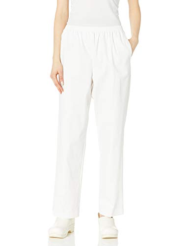 Alfred Dunner Women's Misses Soft Twill Mid-Rise Fit Straight Leg Regular Length Casual Pant, White, Size 10