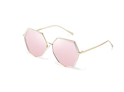 HongTeng Gafas de Sol Hombres y Mujeres Retro Polígono Marco de Metal Gafas polarizadas Anti-UV (Color : Pink)