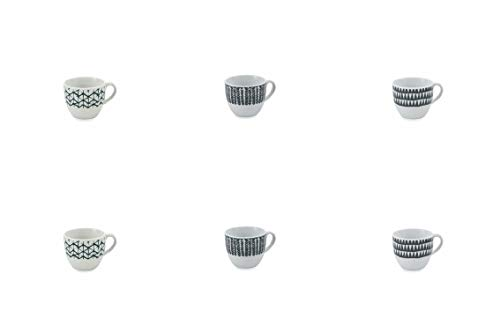 Galileo Casa 2192860 Set de 6 Tasses Café Tribal, Porcelaine, Noir