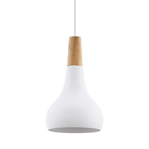 EGLO Pendellampe Sabinar, 1 flammige Pendelleuchte, Hängelampe aus Stahl und Holz, Farbe: Weiß, braun, Fassung: E27, Ø: 18 cm