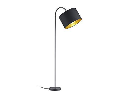 Lampadaire LED décoratif avec bras flexible de 156 cm avec abat-jour en tissu de 35 cm de diamètre en noir mat et intérieur doré - Ambiance lumineuse unique avec filament LED au design élégant.