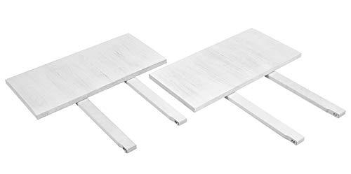 2er Set Ansteckplatten 40x80cm Rio Bonito Farbton Shabby White Pinie Massivholz Vintage Used- Look Landhaus Weiss für Tische 120x80 und 140x80cm