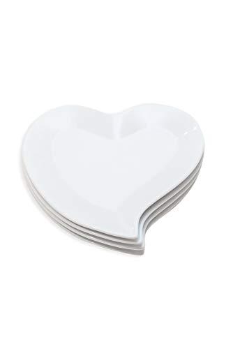 Unbekannt Teller, Herzform, Paket von 4