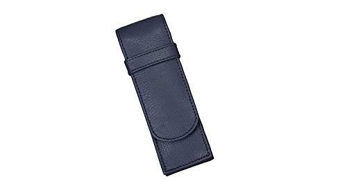Alassio 2669 - Schreibgeräteetui aus echtem Leder, Etui in blau, Stiftetui ca. 14 x 4,5 x 2 cm, Lederetui für 2 Stifte