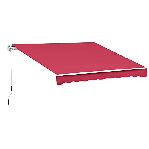 Outsunny Tenda da Sole da Esterno Avvolgibile Impermeabile Rosso Bordeaux 3×2,5m