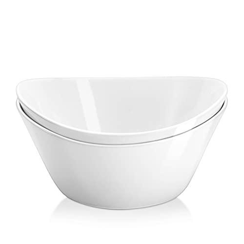 Yedio Salad Bowls Set, 42 Ounces Porcelain Serving Bowls for Kitchen, Large White Bowls for Soup, Oatmeal, Pasta, Snacks, Set of 2, Microwave Dishwasher Safe