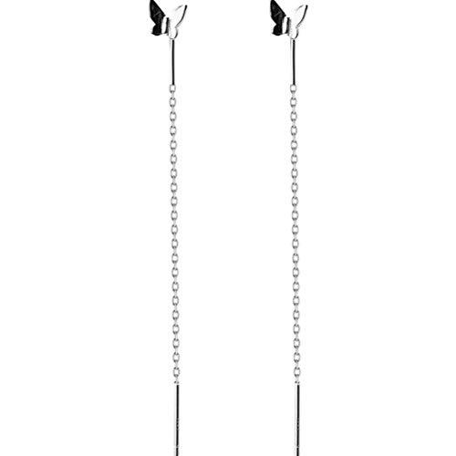 S&RL S925 Tremella Línea Estilo de Personalidad de Moda Coreana de Las Mujeres Dulce Mariposa Pendientes de Cadena de Oreja de Alambre de Oreja Joyería de Orejaun par, Plata 925