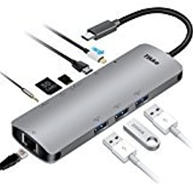 USB C Hub, USB C Adapter 3.1 with Type C Charging Port, 3.5mm Audio/Mic 2in1, 4K HDMI, USB 3.0 SD/TF, 3 USB 3.0 Ports,1000M Ethernet Port, for MacBook Pro 2015/2016,Chromebook & more USB C Devices
