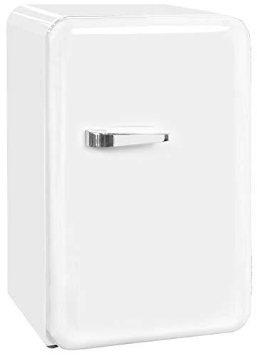 Exquisit Mini-Kühlschrank RKB 60-14 A++   Retrostyle   70 Liter   Glastür   3 Glasablagen   Weiß