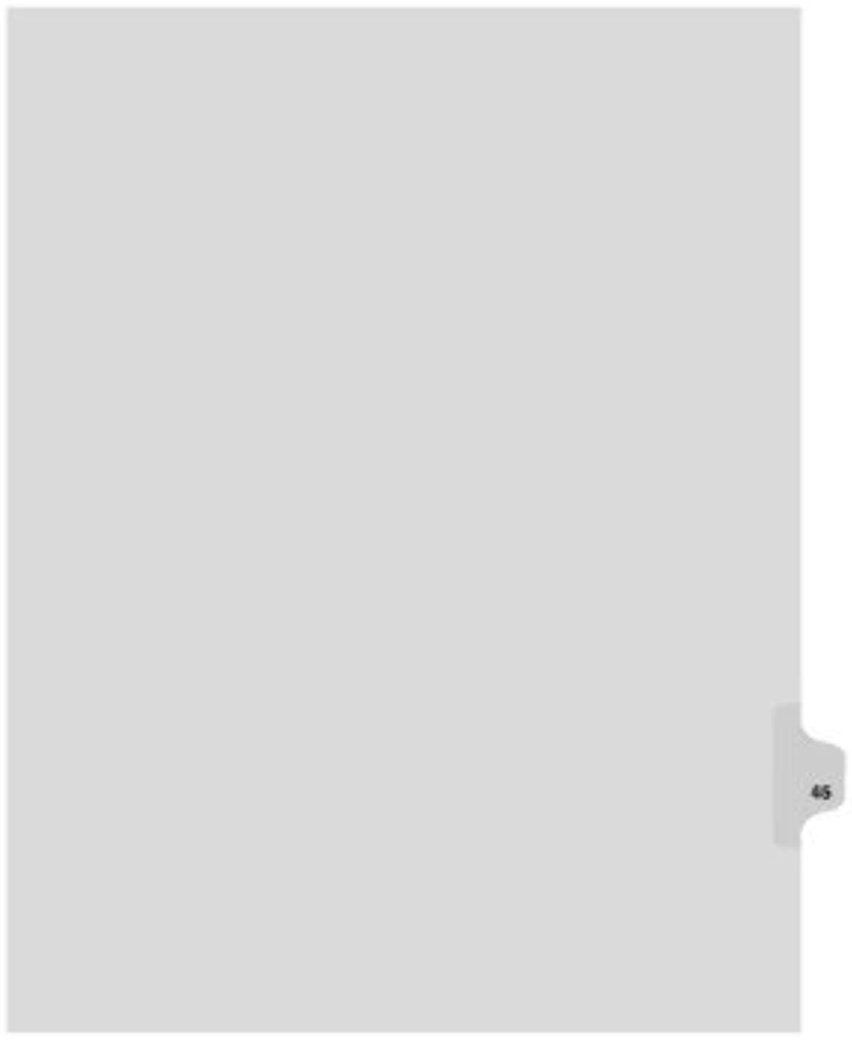 Kleer-Fax Letter Größe Individual Number Index Dividers, Side Tab, 1 25th Cut, 25 Sheets per Pack, Weiß, Number 45 (82245) by Kleer Fax B0141O6XSS  | Discount