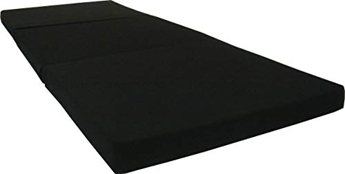 D&D Futon Furniture Black Trifold Foam Beds 3 x 27 X 75 Inch, Floor Tri-Fold Bed, High Density Foam...