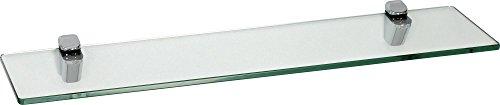 IB-Style - étagère Murale en Verre | 48 Variations | 600 x 200 x 10 mm Clair + Clips Cucale chromé