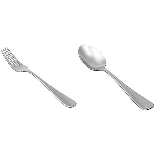 Amazon Basics - Cucharas de sopa de acero inoxidable, con punta redonda, juego de 12 + Tenedores de mesa de acero inoxidable, con punta redonda, juego de 12