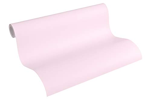 A.S. Création PVC-freie Vliestapete Little Stars Tapete Uni 10,05 m x 0,53 m rosa Made in Germany 355661 35566-1