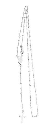 Hobra-Gold Rosenkranz Kette Silber 925 Kugeln facettiert Silberkette Kommunion Kreuz Maria (45)