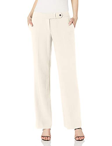 Calvin Klein Women's Classic Fit Straight Leg Suit Pant, Cream, 10