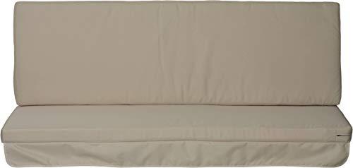 Hollywoodschaukel Comfort Schaukelauflage Kissen 3 Sitzer beige mit wasserabweisendem Polyesterstoff und abnehmbaren Bezug