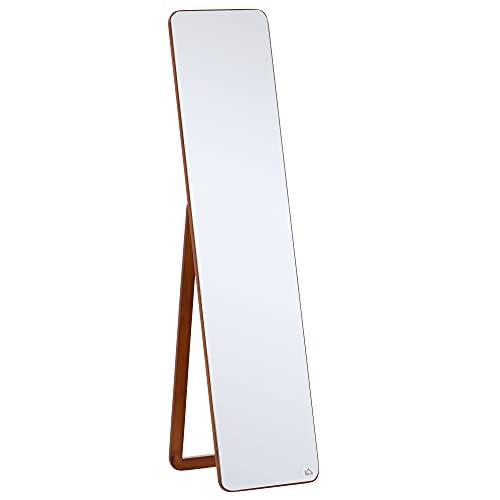 HOMCOM Miroir sur Pied et Mural rectangulaire dim. 37L x 43l x 156H cm MDF Aspect Noyer Clair